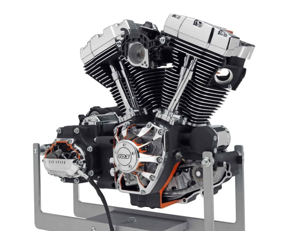 Harley-Davidson twin-cam 103 engine with large cooling fins and cylinder head