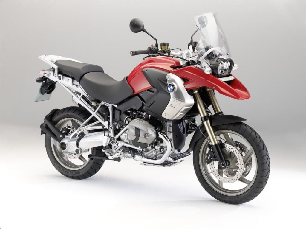 Red 2012 BMW R 1200 GS air-cooled camhead engine