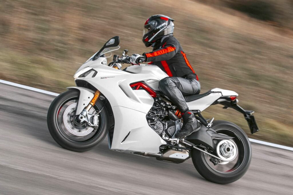 Sportbike riding position on a ducati supersport (LHS)
