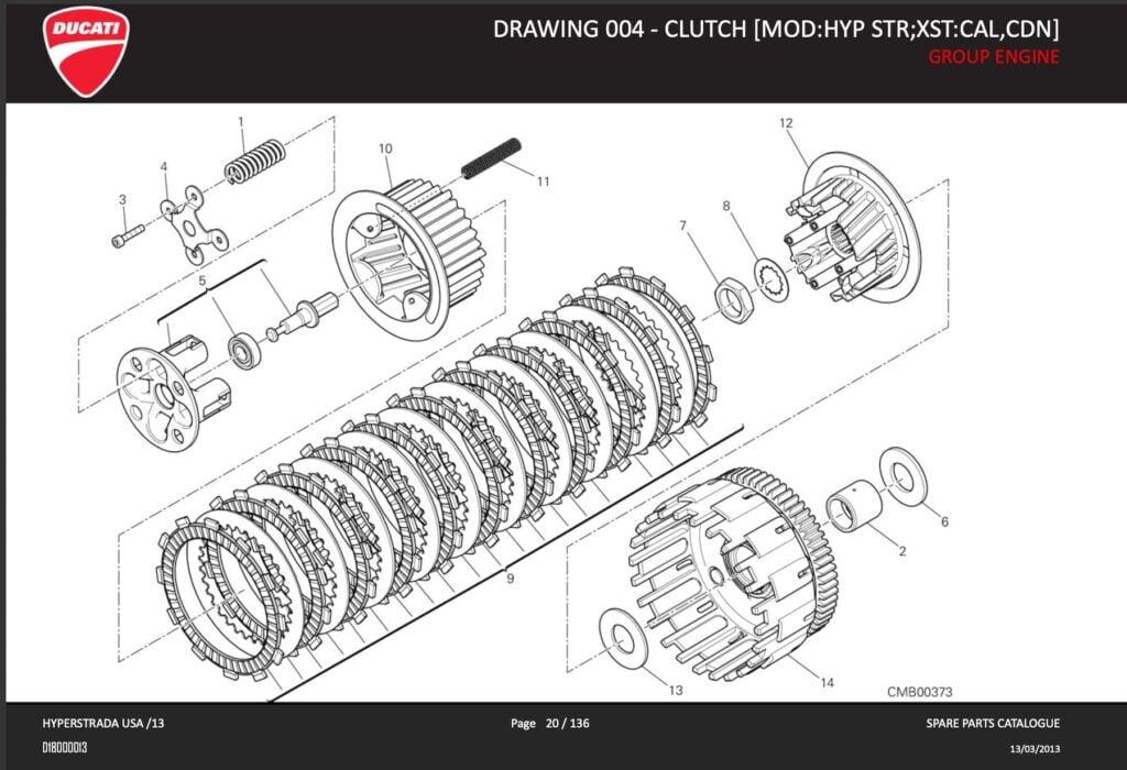 2013 Hyperstrada Hypermotard clutch with original diagram