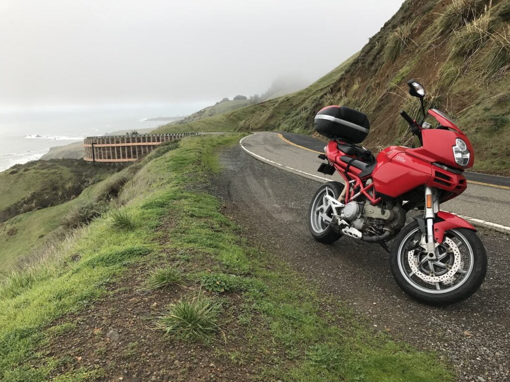 Ducati Multistrada 1000DS parked on the side of the PCH
