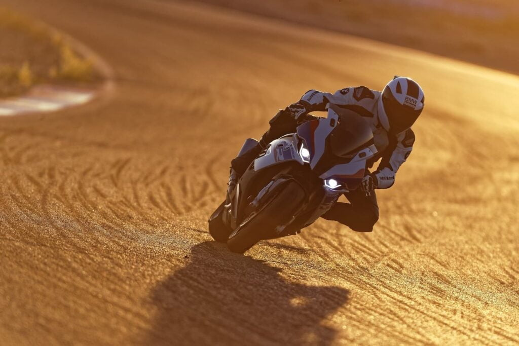 2019 2020 BMW S 1000 RR on track at sunset
