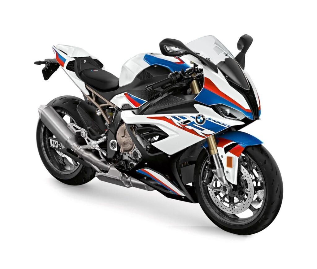 2019 2020 BMW S 1000 RR with M package front diagonal studio shot