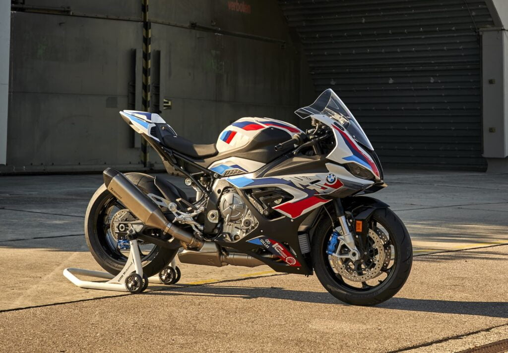 BMW M 1000 RR 2021 RHS on track and kickstand - m package