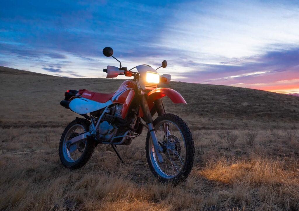 Honda XR650L air-cooled thumper night shot