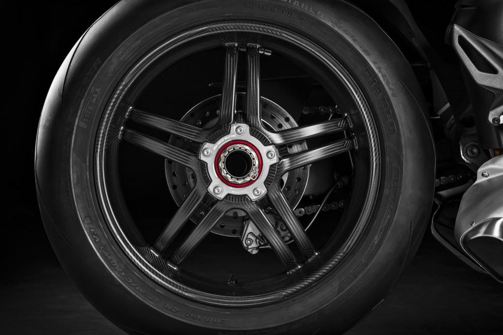 Low unsprung mass carbon fibre wheel on the Panigale V4 SP